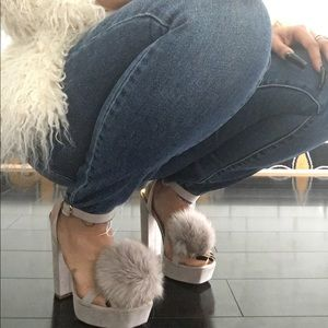Shoes - Puff Ball Strappy Nude Heel
